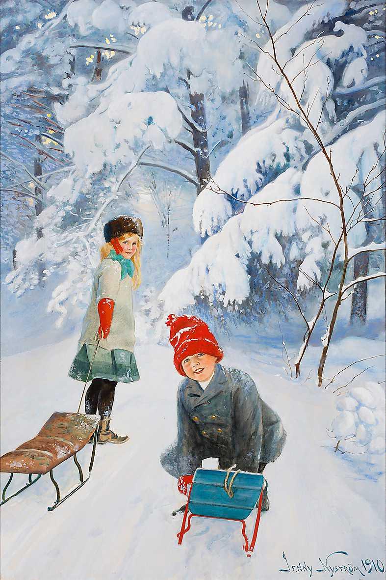 """""""Kälkåkande barn"""", 1910, akvarell och gouache."""