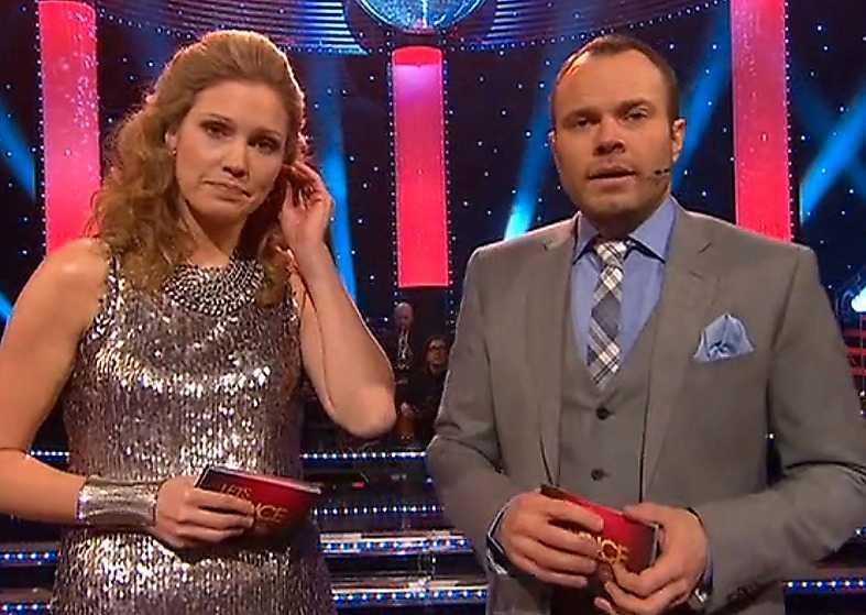 """I """"Let's dance"""" i går låtsades programledarna Jessica Almenäs och David Hellenius säga fel när de skulle berätta vem som åkte ut förra veckan."""