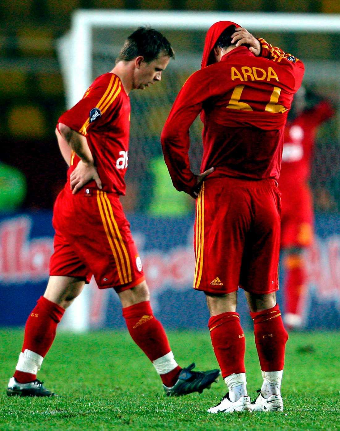 Galatasarays Tobias Linderoth deppar efter HIF:s vinst.