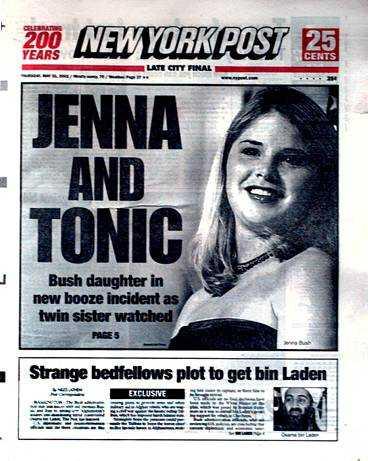 Förstasidorna på New York-tidningarna: döttrarna Bush undgår inte pressens hårda formuleringar.