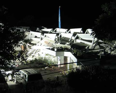 FN-byggnaden skadades i raset.
