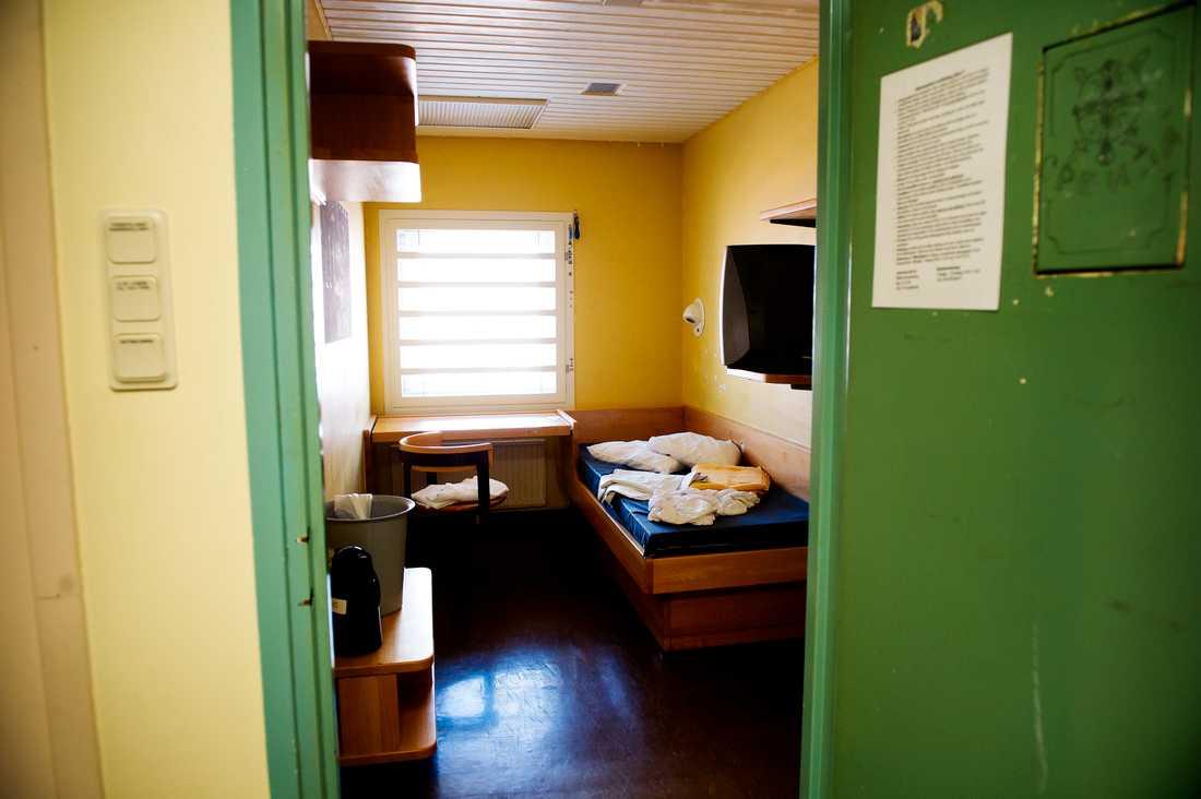 En cell på Kronobergshäktet på Kungsholmen i Stockholm.