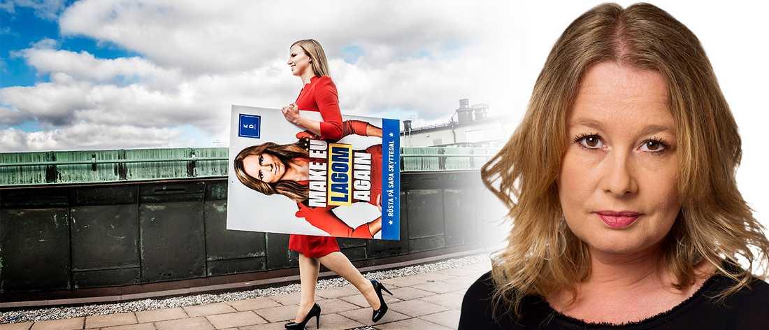 Sara Skyttedal, Kristdemokraternas toppkandidat i det kommande EU-valet med en av partiets valaffischer.