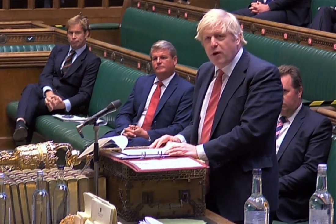 Storbritanniens premiärminister Boris Johnson i en frågestund i brittiska parlamentet.