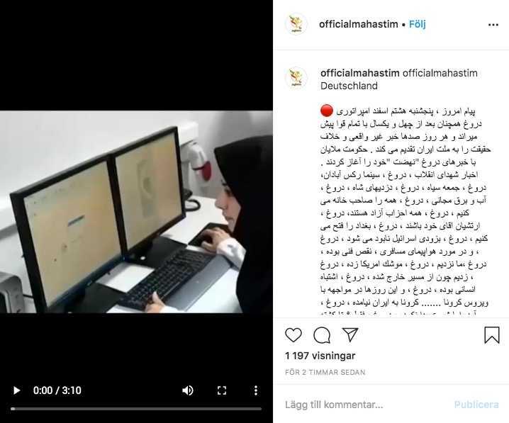 Bild av Instagraminlägget där den anonyma kvinnan berättar om coronasituationen i Teheran. Kvinnan på bilden är inte den som hörs i ljudinspelningen.