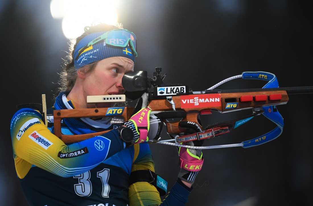 Sveriges Elvira Öberg hade en tung dag på vallen. Arkivbild.