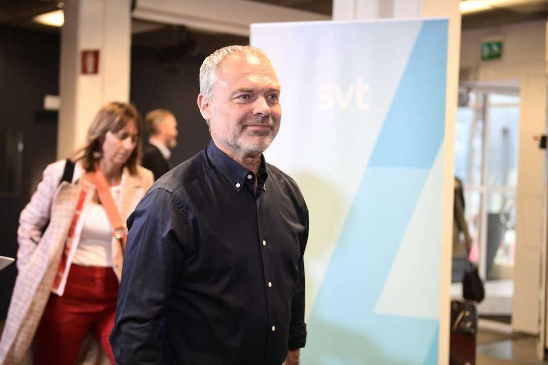 Jan Björklund (L) inför partiledardebatten i SVT.