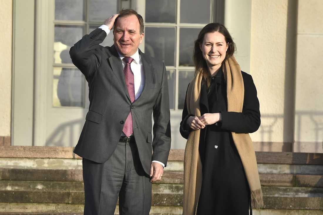 Statsminister Stefan Löfven tar emot Finlands nya statsminister Sanna Marin på Harpsund, regeringens rekreations- och representationsbostad.