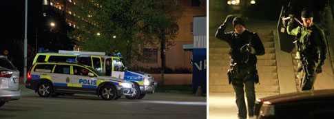 Polisen gjorde en stor insats efter skottlossning i Tensta i natt.