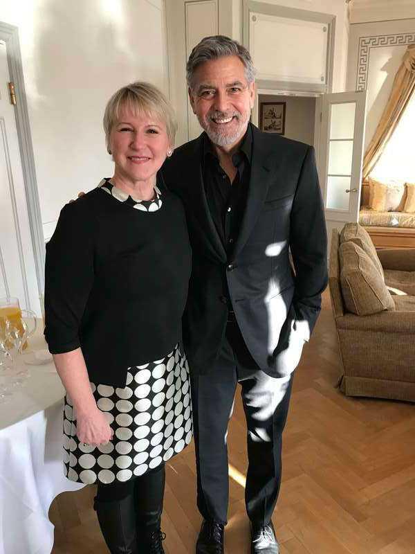 George Clooney och utrikesminister Margot Wallström.