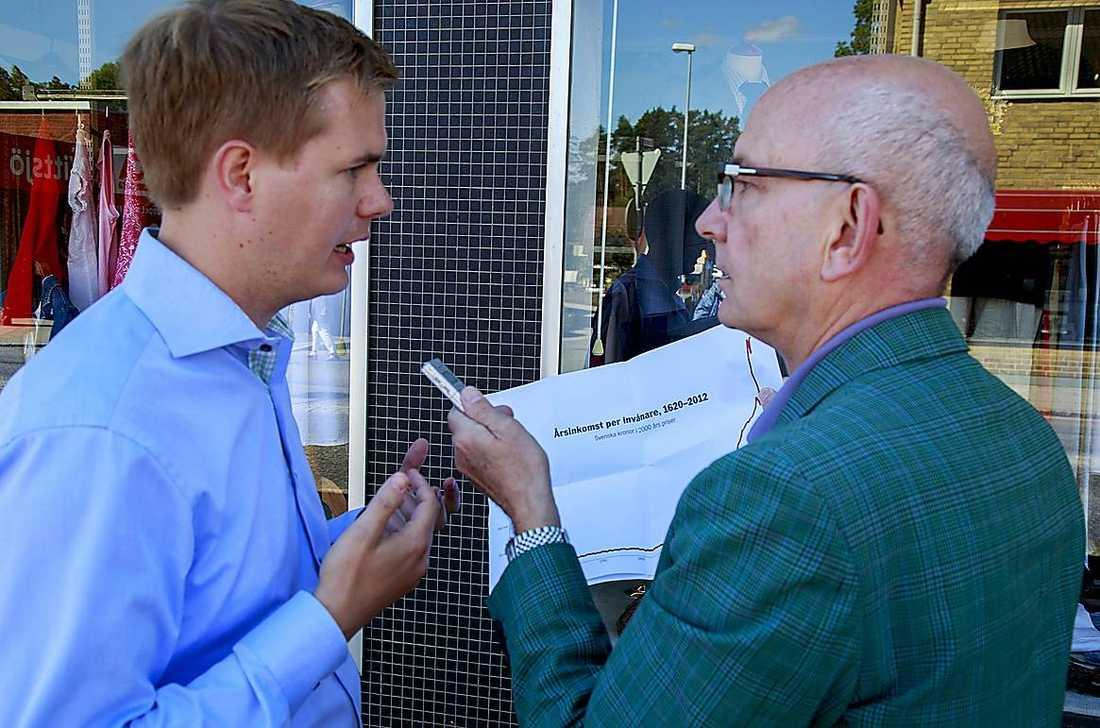 Gustav Fridolin diskuterar ekonomisk utveckling och tillväxt med Aftonbladets Peter Kadhammar.