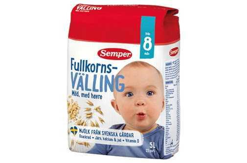 Semper återkallar sin milda fullkornsvälling med havre för barn från åtta månader. Pressbild.