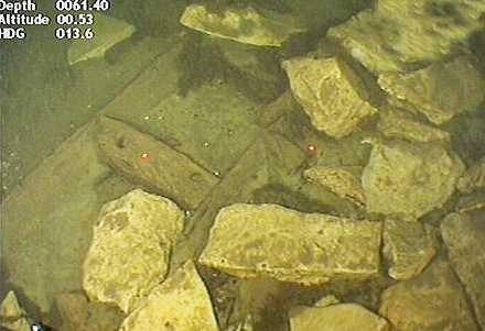 Ett troligt medeltida vrak lastat med kalksten, på bilden ser man ett spant, två bordläggningsplankor samt lasten av kalksten.