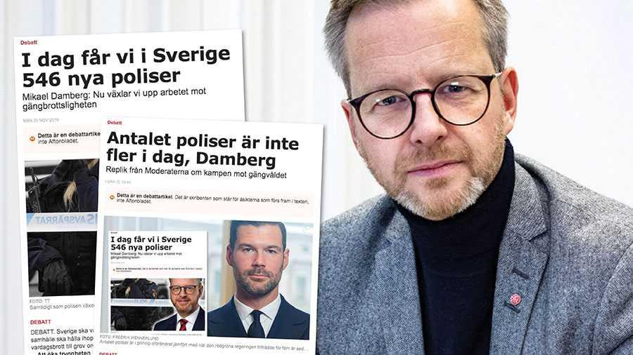 Anledningen till att siffrorna över antalet poliser ökar först i december vet Johan Forssell mycket väl. Dels tar det tre år från att en person söker utbildningen, tills att hon eller han är färdig polis, säger Mikael Damberg.