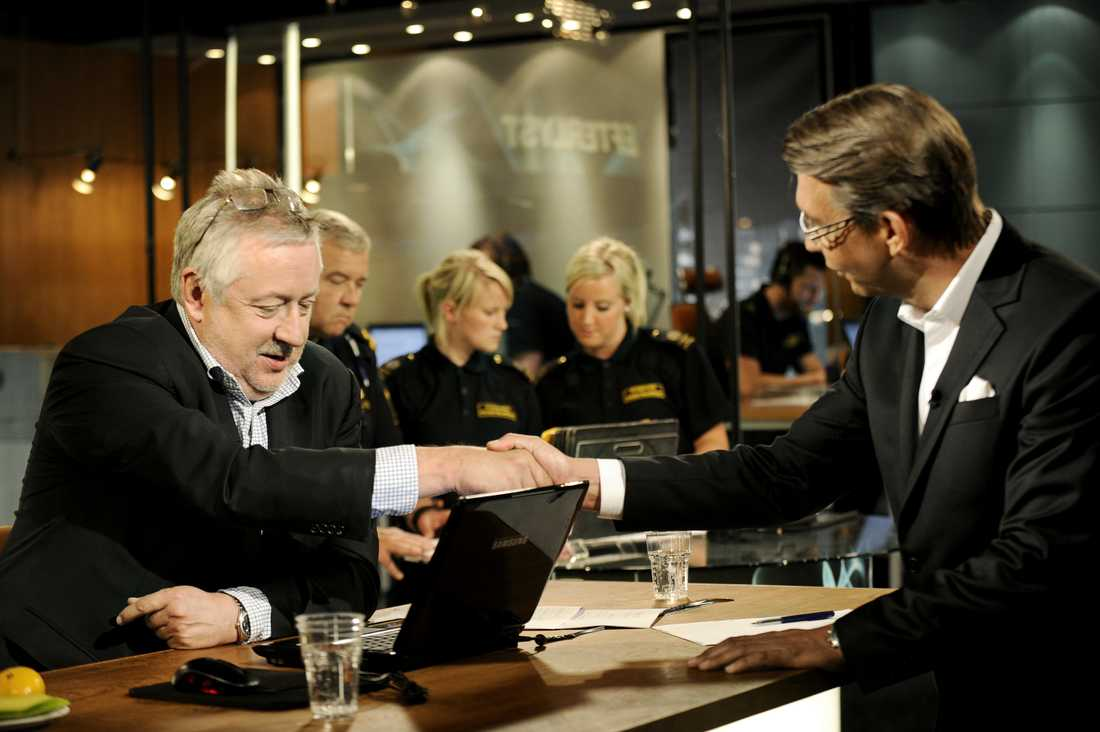 Leif GW Persson tillsammans med Hasse Aro i Efterlyst.