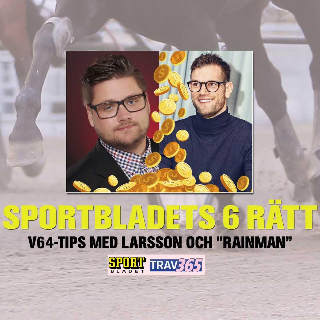 """Nils Larsson och Joakim """"Rainman"""" Rosenhed tippar V64 måndagar till fredagar på Trav365 med premiär måndagen den 1 februari."""