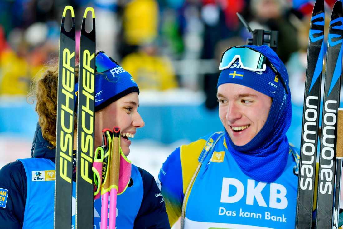 Hanna Öberg och Sebastian har en bra medaljchans i singelmixedstafetten. Arkivbild.