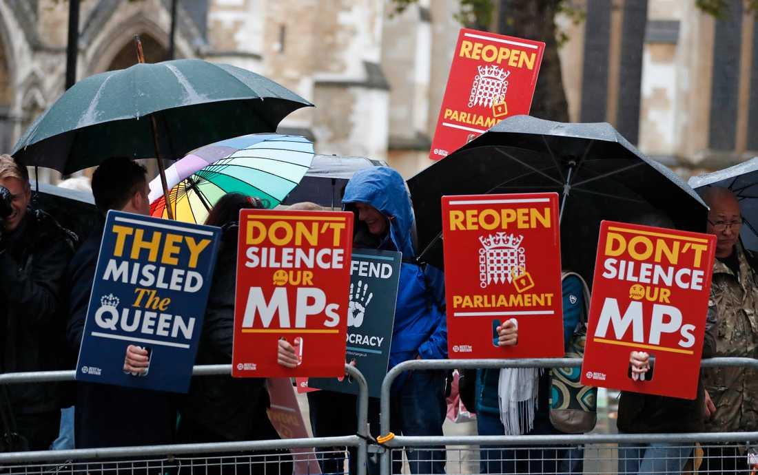 Brexitmotståndare demonstrerar i regnet utanför Högsta domstolen i London inför beslutet. Arkivbild.