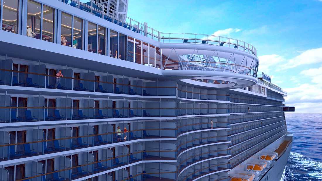 ROYAL PRINCESS Princess Cruises nya fartyg har premiär i juni 2013. Notera den svängda glasgången som hänger ut från fartygets sida.
