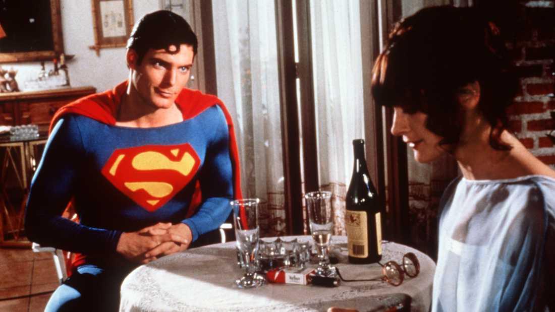 "Margot Kidder och Christopher Reeve i ""Stålmannen""."