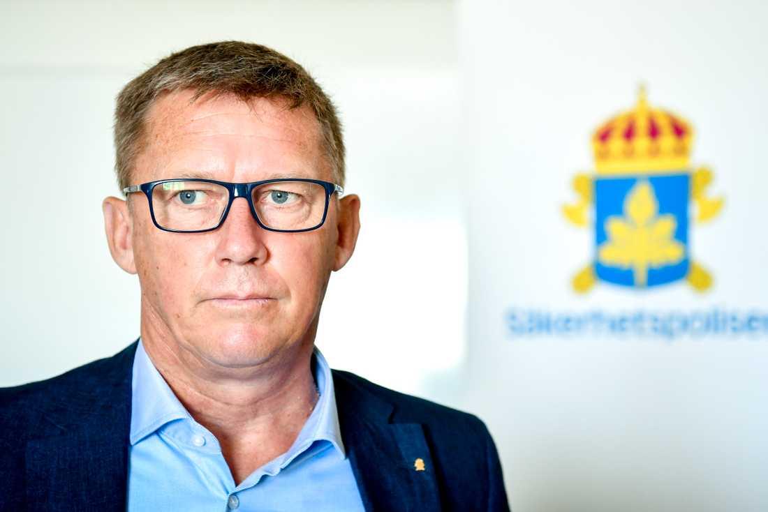 Klas Friberg, Säpo-chef, intervjuades av TT i Visby under Almedalsveckan.