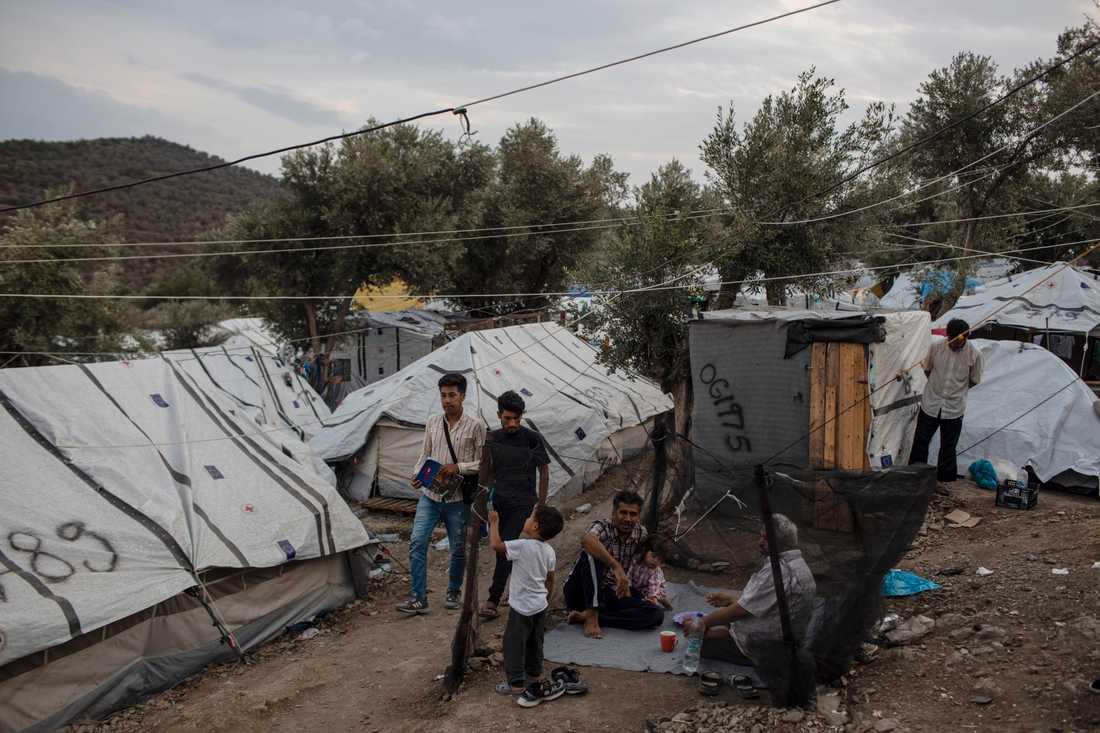 Spontana tältbyar växer fram på grekiska öar, utanför de överfyllda uppsamlingslägren för flyktingar och migranter. Arkivbild från oktober.