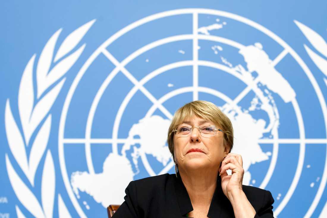 Michelle Bachelet under sin presskonferens i Genève.