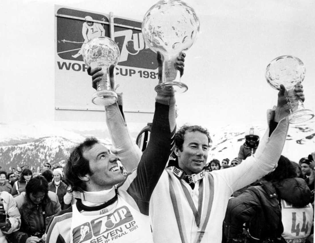 Efter segern i Madonna blev det totalt 86 världscupsegrar för Stenmark. Här firar han segern i slalomcupen 1981