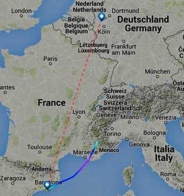 Flygplanets planerade rutt och kraschplatsen.