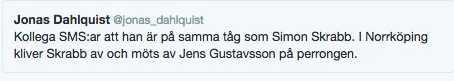 Jonas Dahlquists tweet som senare raderades.