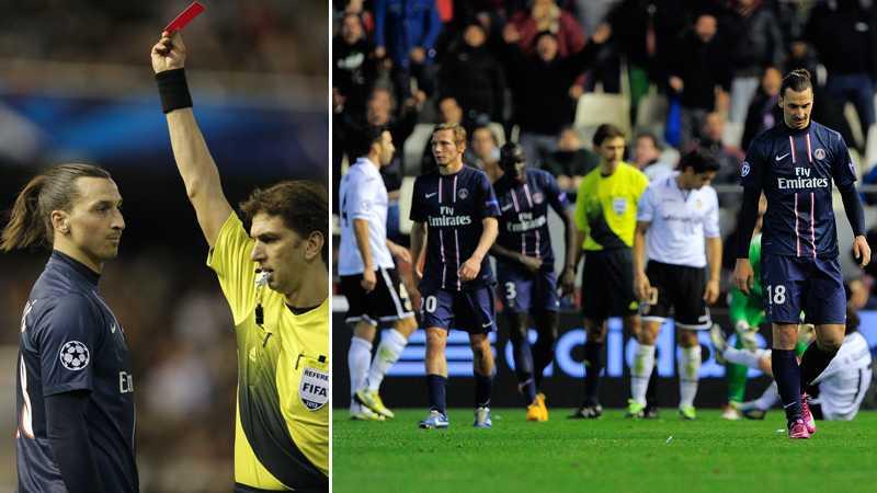Zlatans PSG slog ut Valencia ur åttondelen i Champions League i mars 2013, men svensken fick inte spela returen efter ett rött kort i första mötet.