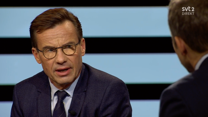 "Ulf Kristersson i ""Agenda""-studion."