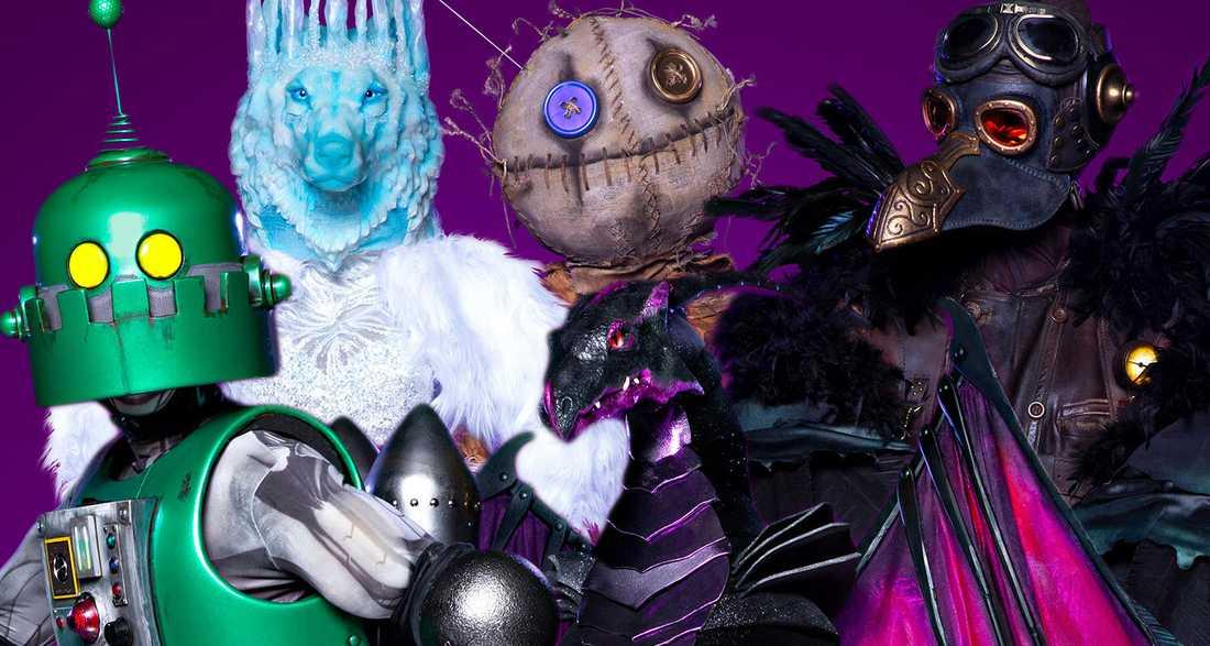 Roboten, Isvargen, Voodoodockan, Draken och Korpen.