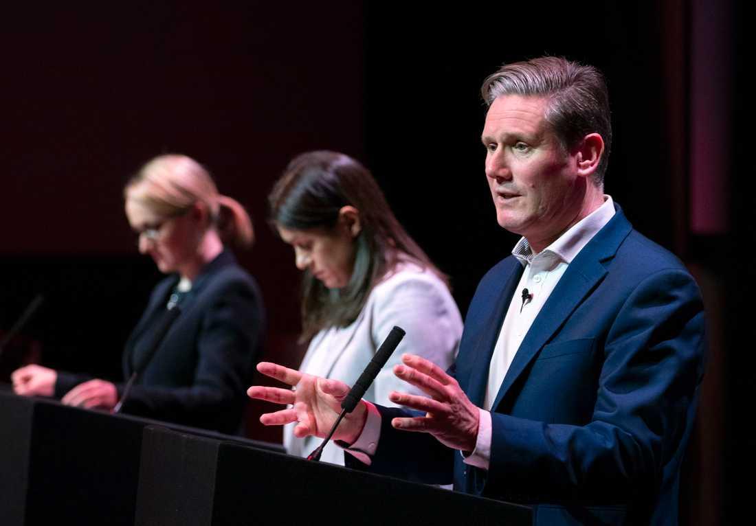 Rebecca Long-Bailey (till vänster), Lisa Nandy (mitten) och Keir Starmer (längst till höger) kämpar om partiledarposten hos brittiska Labour. Arkivbild.