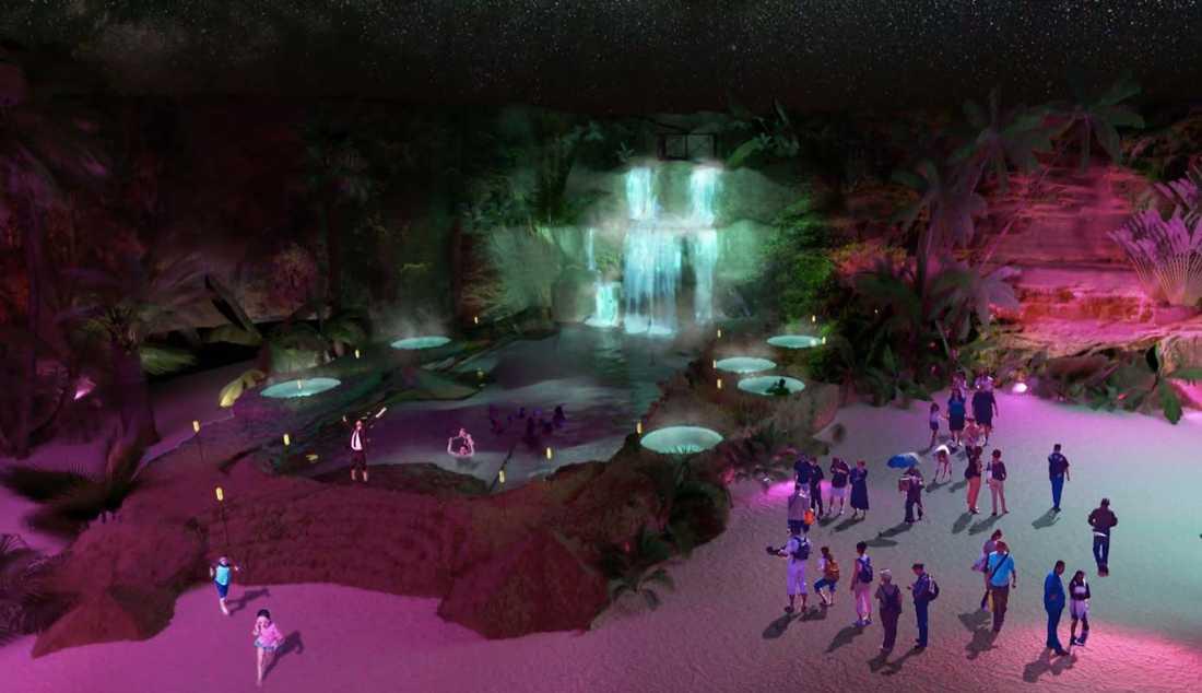 Den animerade skylinen förändras när det blir kväll.