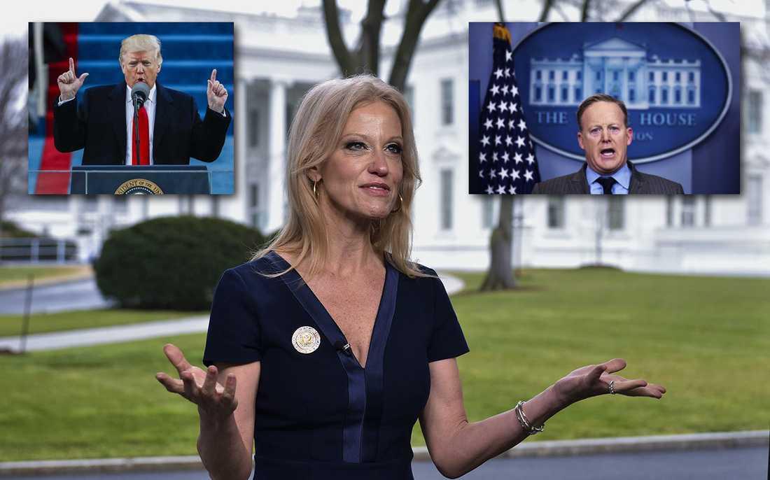 Donald Trumps rådgivare Kellyanne Conway försvarar presstalesmannen Sean Spicers osanningar.