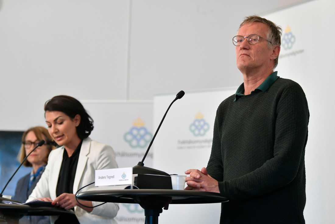 Presskonferens med bland annat Folkhälsomyndighetens Anders Tegnell tidigare i veckan. Arkivbild.