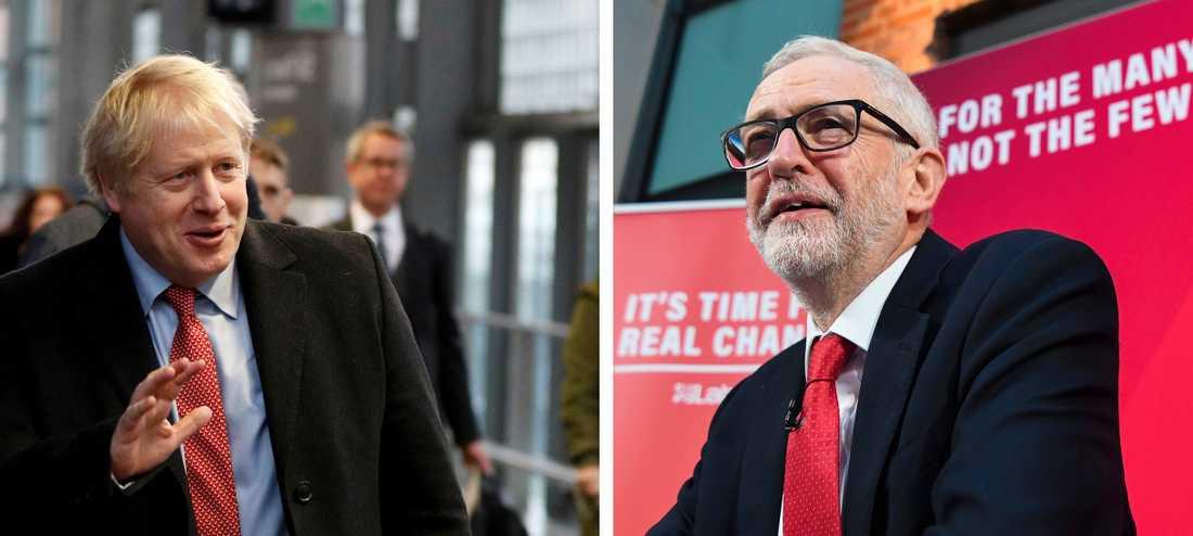 Storbritanniens premiärminister Boris Johnson ser ut att få en betryggande majoritet i det brittiska valet. Labourpartiet och Jeremy Corbyn (höger) ser ut att tappa stort.