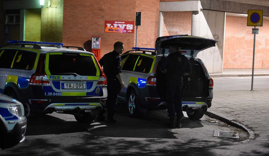 Polispådrag i Solberga i södra Stockholm.