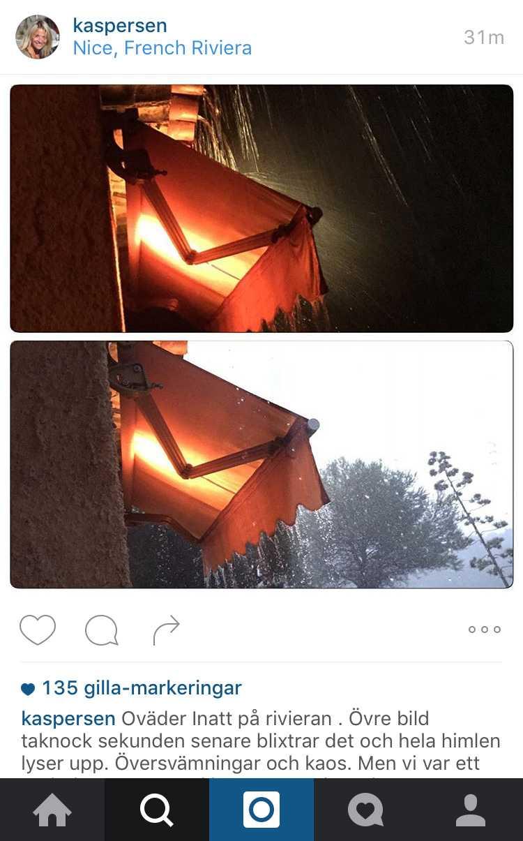 """Kristin Kaspersen berättar om """"översvämningar och kaos"""" på sitt Instagramkonto."""