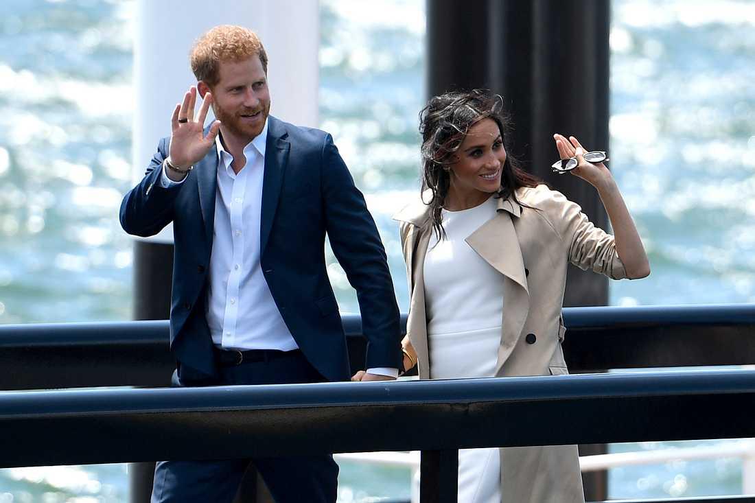 Storbritanniens prins Harry och hustrun Meghan anländer till operahuset i Sydney. Arkivbild.