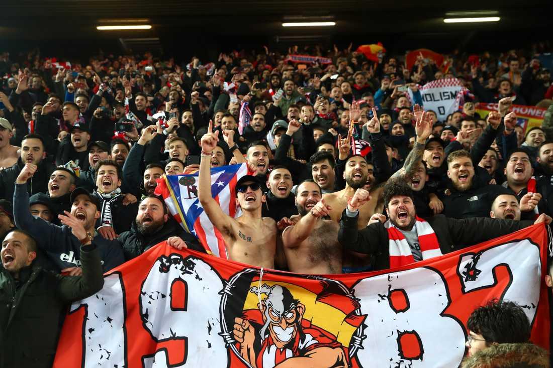 Atlético-fansen firar segern mot Liverpool