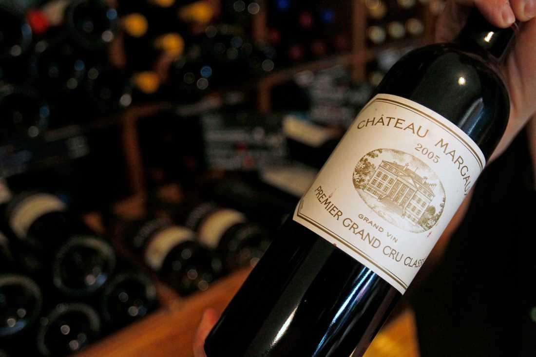 En flaska Château Margaux, dock inte den som stals i Trondheim. Arkivbild.