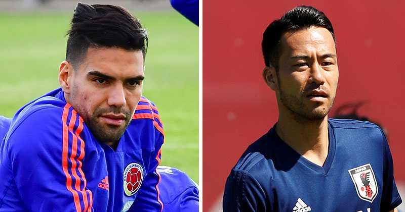 Colombias Falcao och Japans Okazaki.