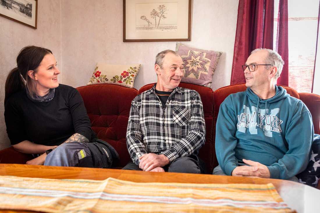 Roger Ekström i mitten överlevde tack vare kollegorna Sofie Berglunds och Karl-Erik Gestriniussnabba agerande.