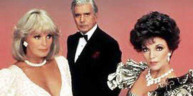 """På 80-talet blev Joan Collins berömd för """"Dynastin"""", tillsammans med Linda Evans och John Forsythe."""