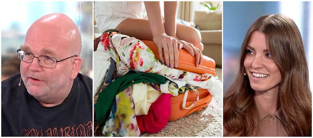 Reseredaktör Johan Gunnarsson och bloggaren Linn Herbertsson vet hur man packar ett handbagage bäst.
