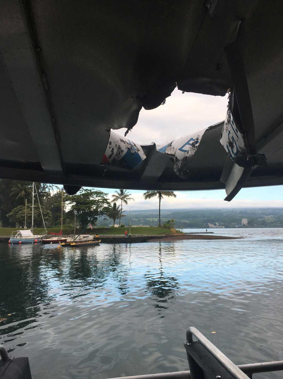 """""""Lavabomben"""" gick rakt genom taket på båten."""