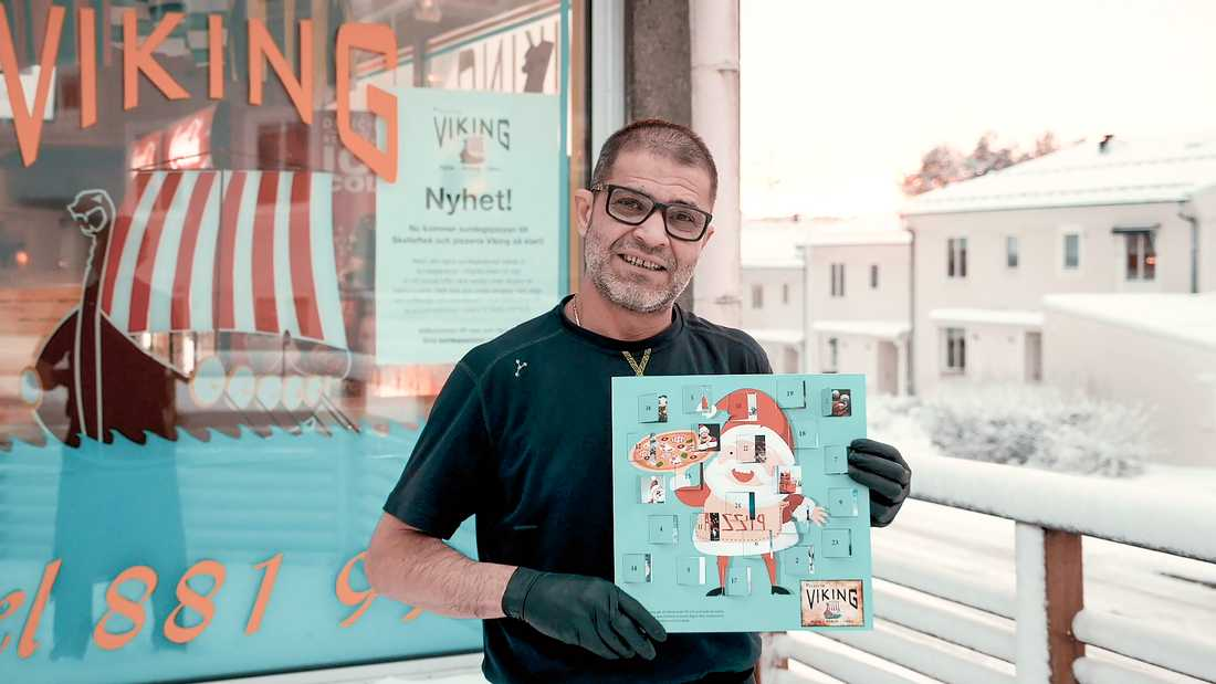 """""""Världens första pizzajulkalender"""", hävdar Salih Oktay."""