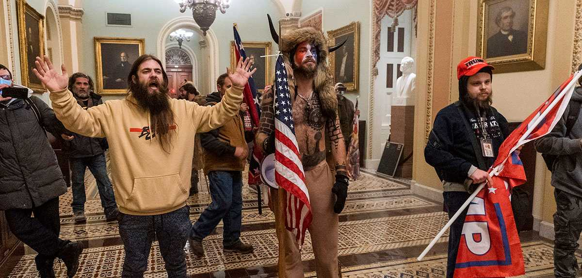 Bild inifrån stormningen av kongressbyggnaden i Washington i januari i år.